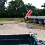 feature rocks craned into place
